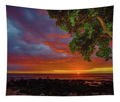 Tree  Sea And Sun Tapestry