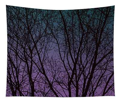 Tree Silhouette Against Blue And Purple Tapestry