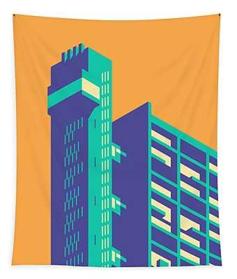 Trellick Tower London Brutalist Architecture - Plain Apricot Tapestry