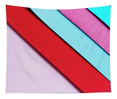 Trendy Pastel Colors In Geometry Shape Flat Lay. Colorful Rainbo Tapestry