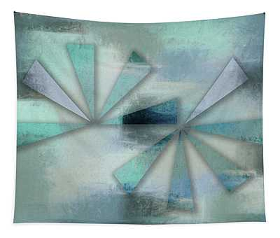 Triangles On Blue Grey Backdrop Tapestry