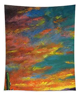 Triptych 1 Desert Sunset Tapestry