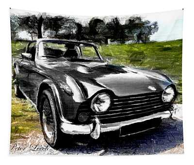 Triumph Tr5 Monochrome With Brushstrokes Tapestry