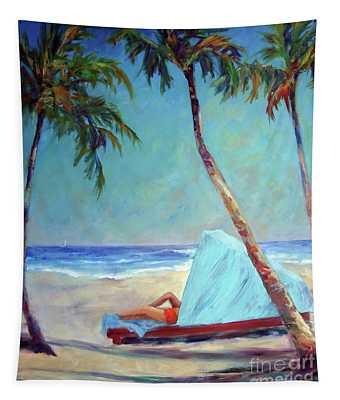 Tropical Beach Cabana Tapestry