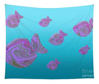 Tropical Fish In Pink Psychedelic Pattern Tapestry