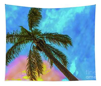 Tropical Scene - Palm Tree Against Sunset Sky Tapestry