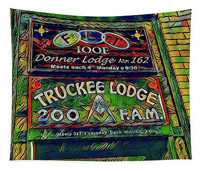 Truckee Masonic Lodge Green Theme Tapestry