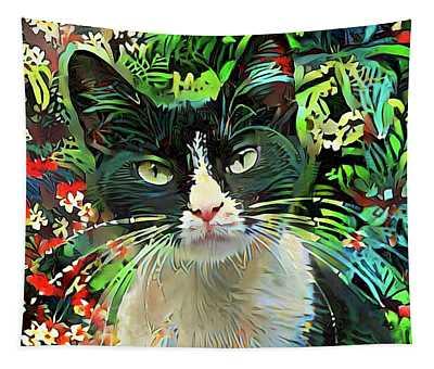 Tucker The Tuxedo Cat Tapestry