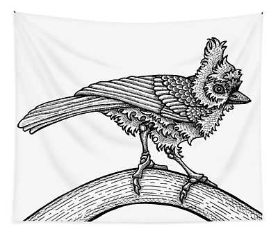 Tapestry featuring the drawing Tufted Titmouse by Amy E Fraser