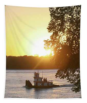 Tugboat On Mississippi River Tapestry