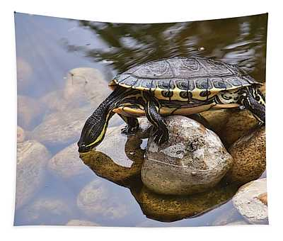 Turtle Drinking Water Tapestry