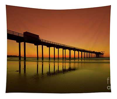 Twilight On The Beach Scripps Pier La Jolla San Diego Ca Tapestry