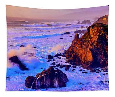 Twilight Waves Crashing On Rocks Tapestry