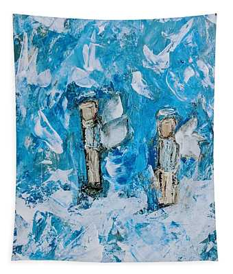 Twin Boy Angels Tapestry