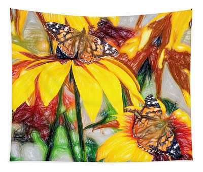 Twin Painted Lady Butterflies Pencil Tapestry