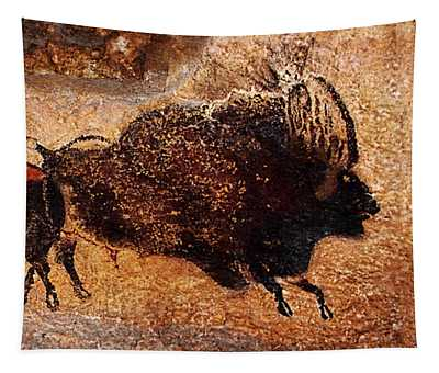 Two Bisons Running Tapestry