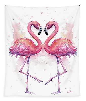 Two Flamingos In Love Watercolor Tapestry