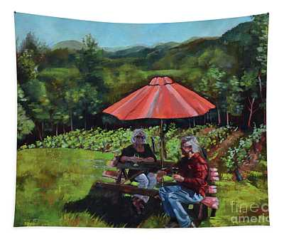 Two Friends At Ott Farms And Vineyards Tapestry