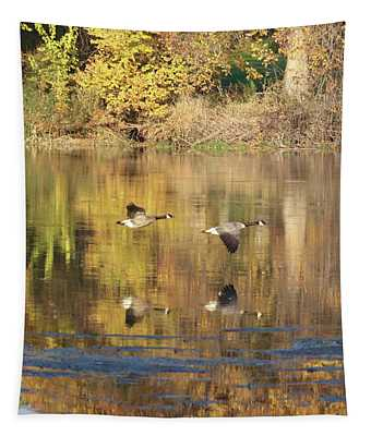 Two Geese Flying With Autumn Trees Reflection Tapestry