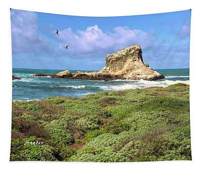 Two Gulls And A White Rock Seascape Tapestry
