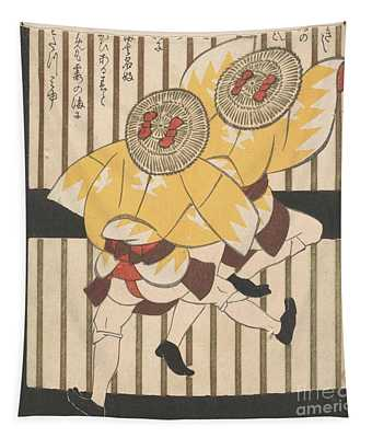 Two Men Wearing Yellow Coats And Straw Hats With Red Bows Tapestry
