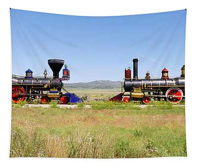 Two Steam Engines On A Railroad Track Tapestry