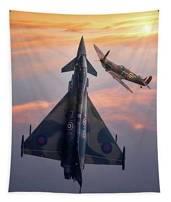 Typhoon And Spitfire Synchro-pair Display Team Tapestry
