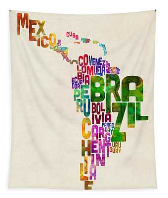 Typography Map Of Latin America, Mexico, Central And South America Tapestry