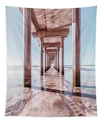Under The Boardwalk Scripps Pier San Diego Square Tapestry