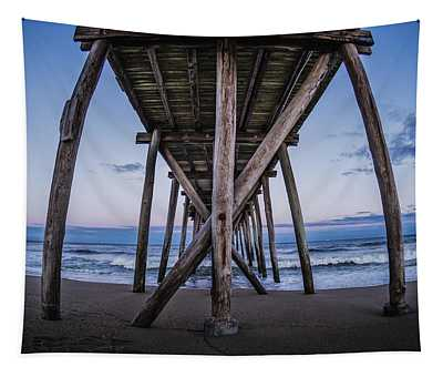 Tapestry featuring the photograph Under The Pier by Steve Stanger