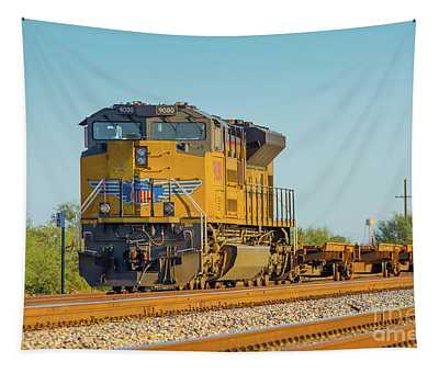 Union Pacific Locomotive At Red Rock Arizona Sunset Tapestry