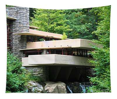 Up Close Fallingwater Frank Lloyd Wright Color  Tapestry