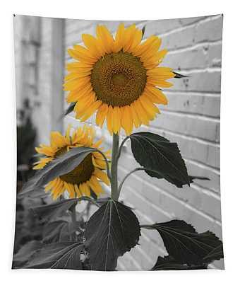 Urban Sunflower - Black And White Tapestry