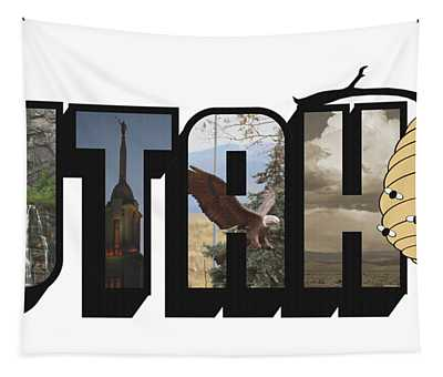 Utah The Beehive State Big Letter Tapestry