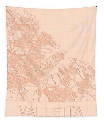 Valletta Blueprint City Map Tapestry
