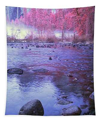 Valley River In Yosemite Tapestry
