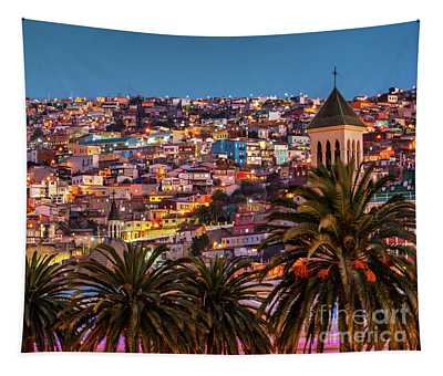 Valparaiso Illuminated At Night Tapestry