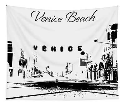 Venice Beach California Silhouette Tapestry