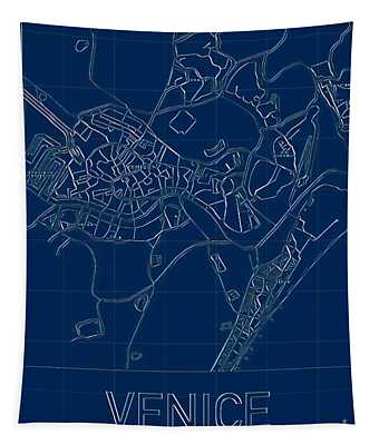 Venice Blueprint City Map Tapestry
