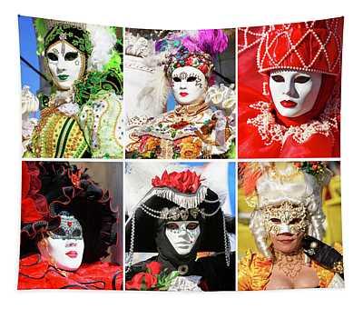 Venice Carnival Models Collage 1 Tapestry