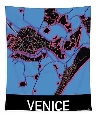 Venice City Map Tapestry