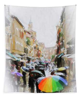 Venice In The Rain Tapestry