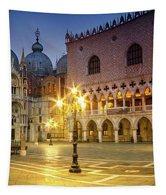 Venice St Marks Cathedral And Doges Palace In The Morning Tapestry