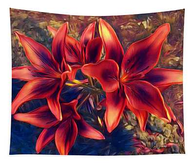 Vibrant Red Lilies Tapestry