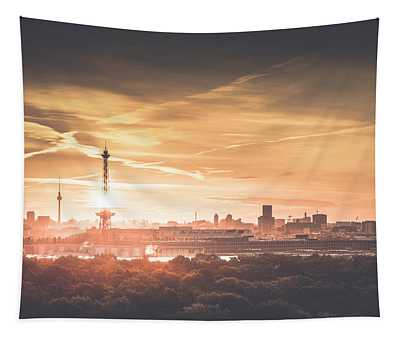 View From Drachenberg  Capital Skyline In The Morning, Berlin, Germany, 2015 Tapestry