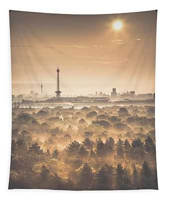 View From Drachenberg  Two Towers, Berlin, Germany, 2015 Tapestry