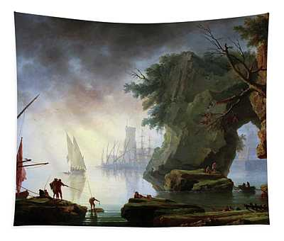 View Of A Port In The Mist Tapestry