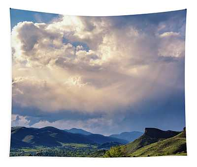 View Of Clouds Over Golden, Colorado Tapestry