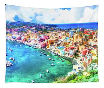 View Of Procida Italy Tapestry