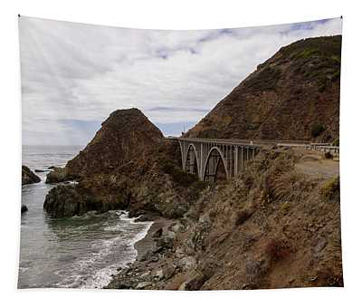 Views From A Viewpoint Next To The Big Creek Bridge In Big Sur, California, Usa. Tapestry